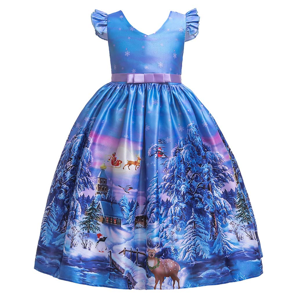 FDSD Baby Clothes Teen Child Girl Christmas Princess Dress Kids Girls Santa Print Short Sleeve Pageant Casual Party Wedding Gown (Age:8-9 Years, Blue) by FDSD Baby Clothes
