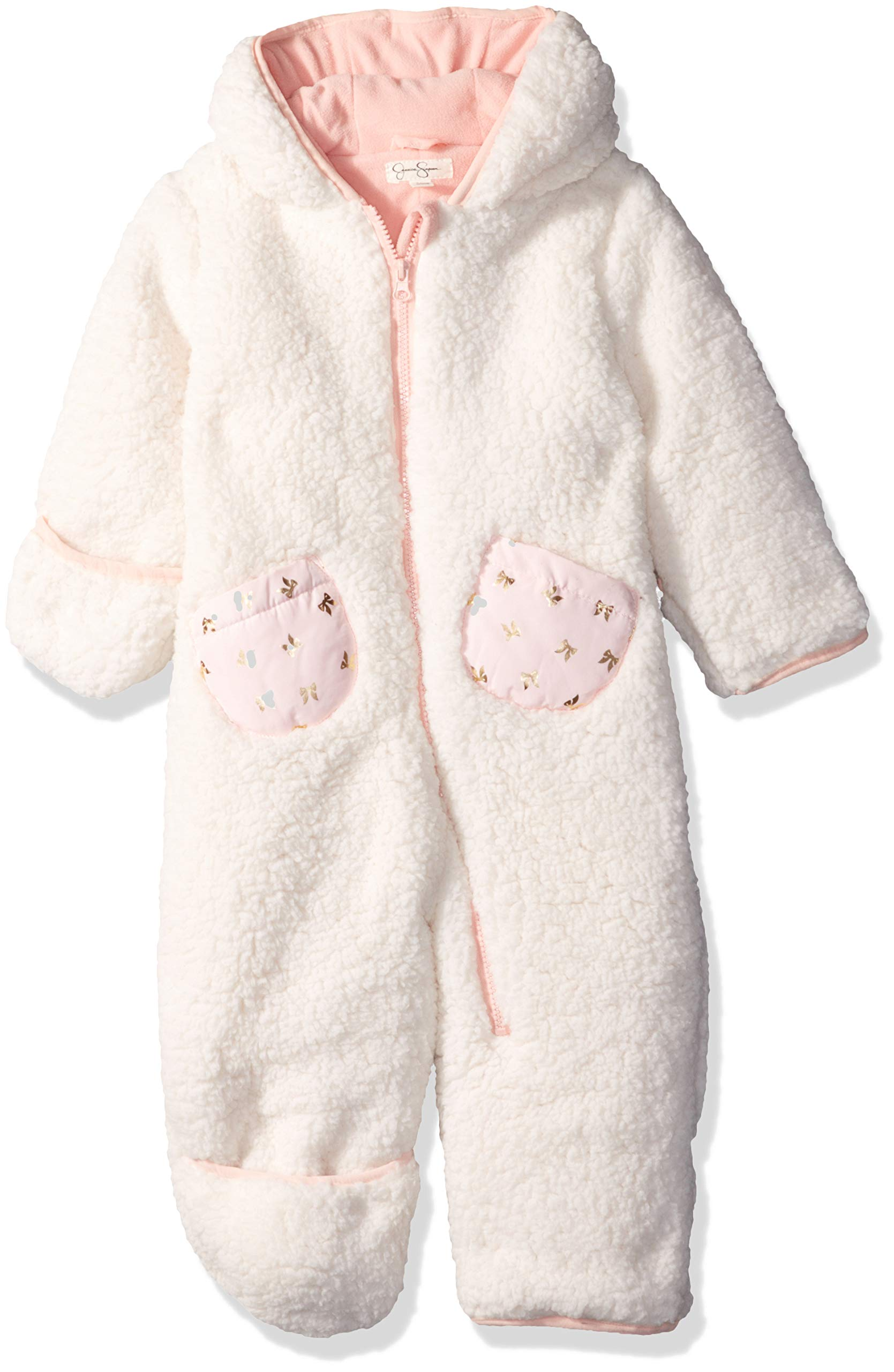 Jessica Simpson Baby Girls Sherpa Pram, Cream, 6-9 Months by Jessica Simpson