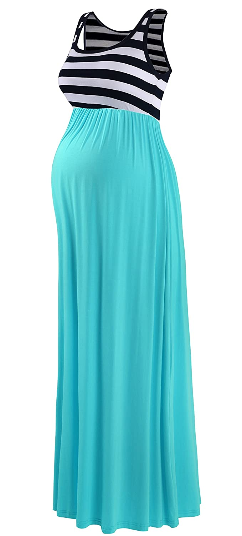 Neonysweets Womens Pregnancy Maternity Contrast Maxi Tank Dress Comfortable