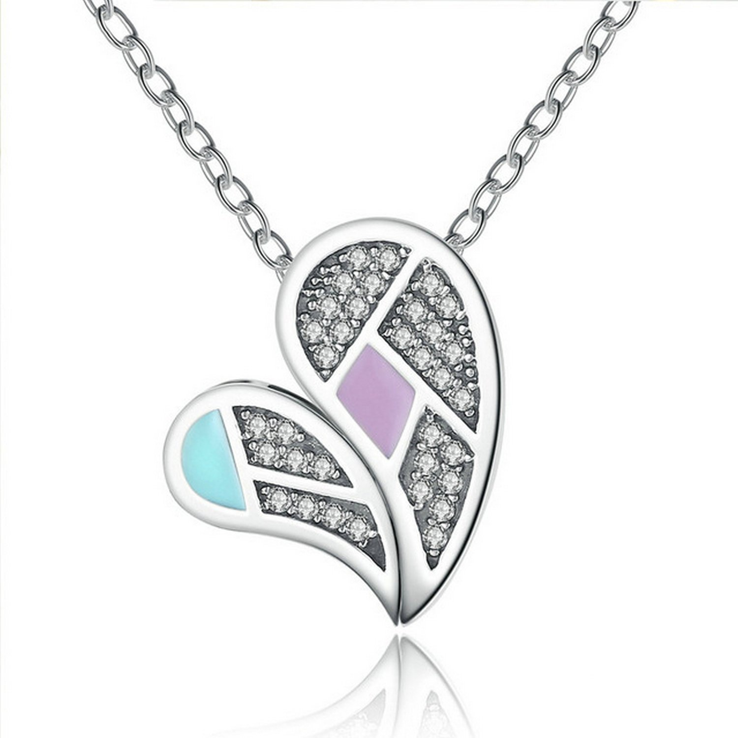 CS-DB Love Heart Mom and Child Mother Love Pendants Silver Necklaces