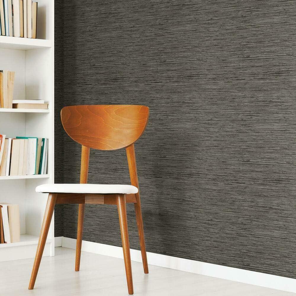 Roommates Rmk11313wp Dark Gray Grasscloth Peel And Stick Wallpaper Amazon Com