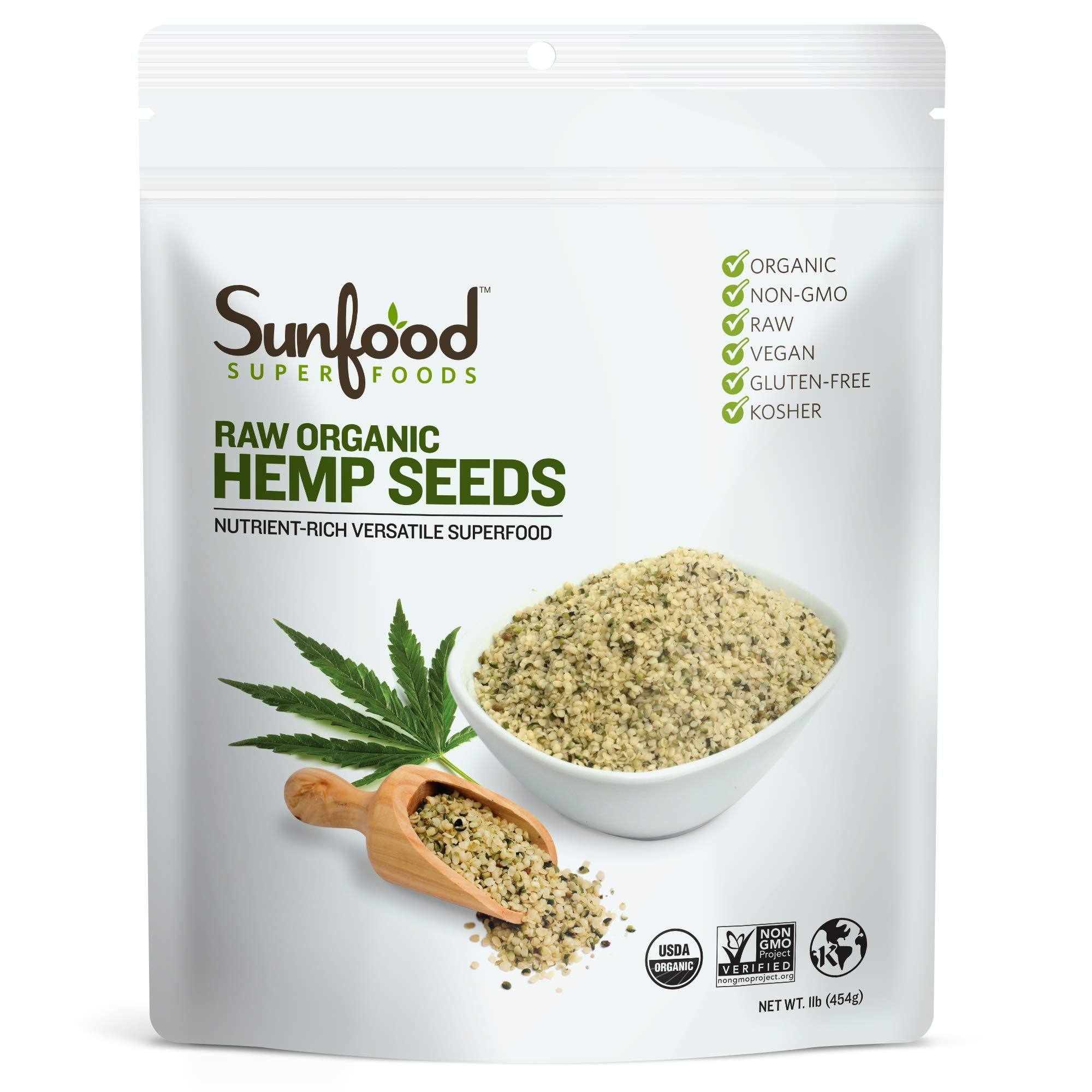 Sunfood Superfoods Shelled Hemp Seeds. Raw, Organic, Non-GMO. Bulk Value. Rich in Protein, Amino Acids, Healthy Plant Fats. 100% All Natural Single Ingredient Product. 1 lb Bag.