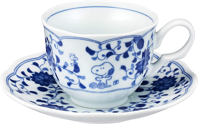Kanesho Pottery Snoopy Peanuts Blue and White Tea Cup and Saucer Set 630737