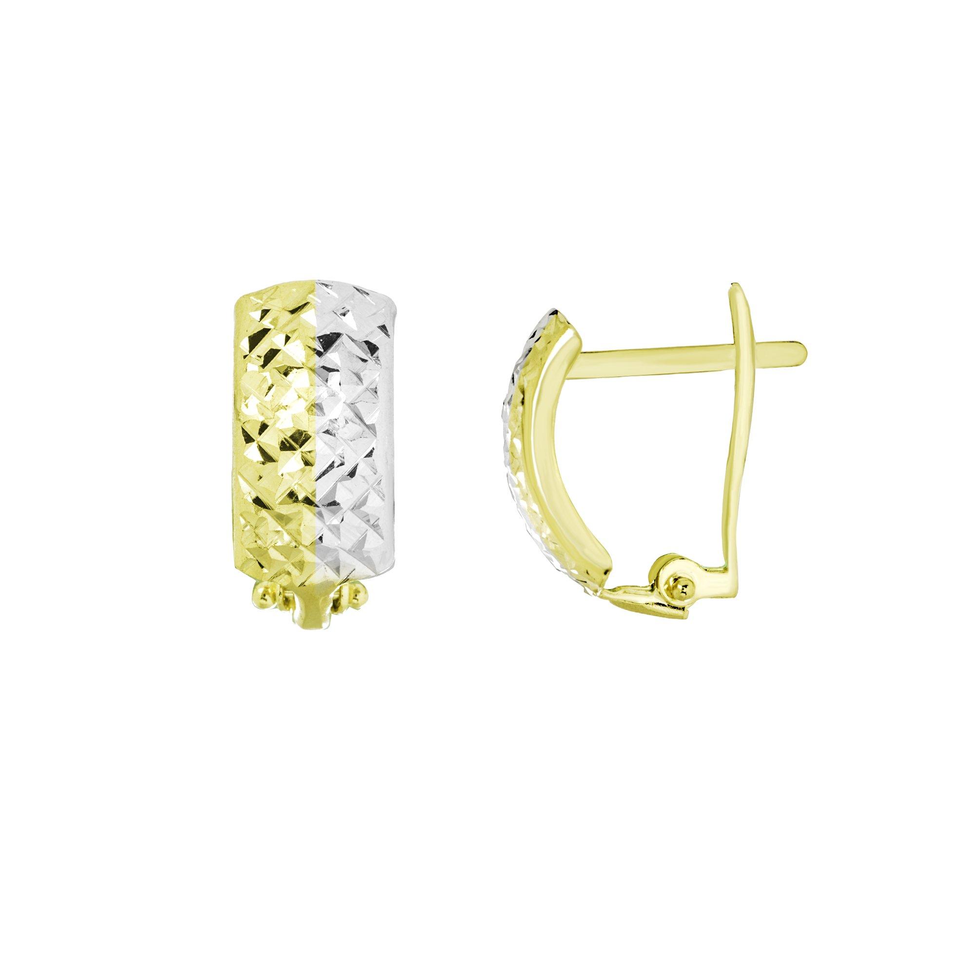 CLIP BACK EARRINGS, 10KT GOLD TWO TONE CRISS CROSS DIAMOND CUT CLIP BACK EARRINGS