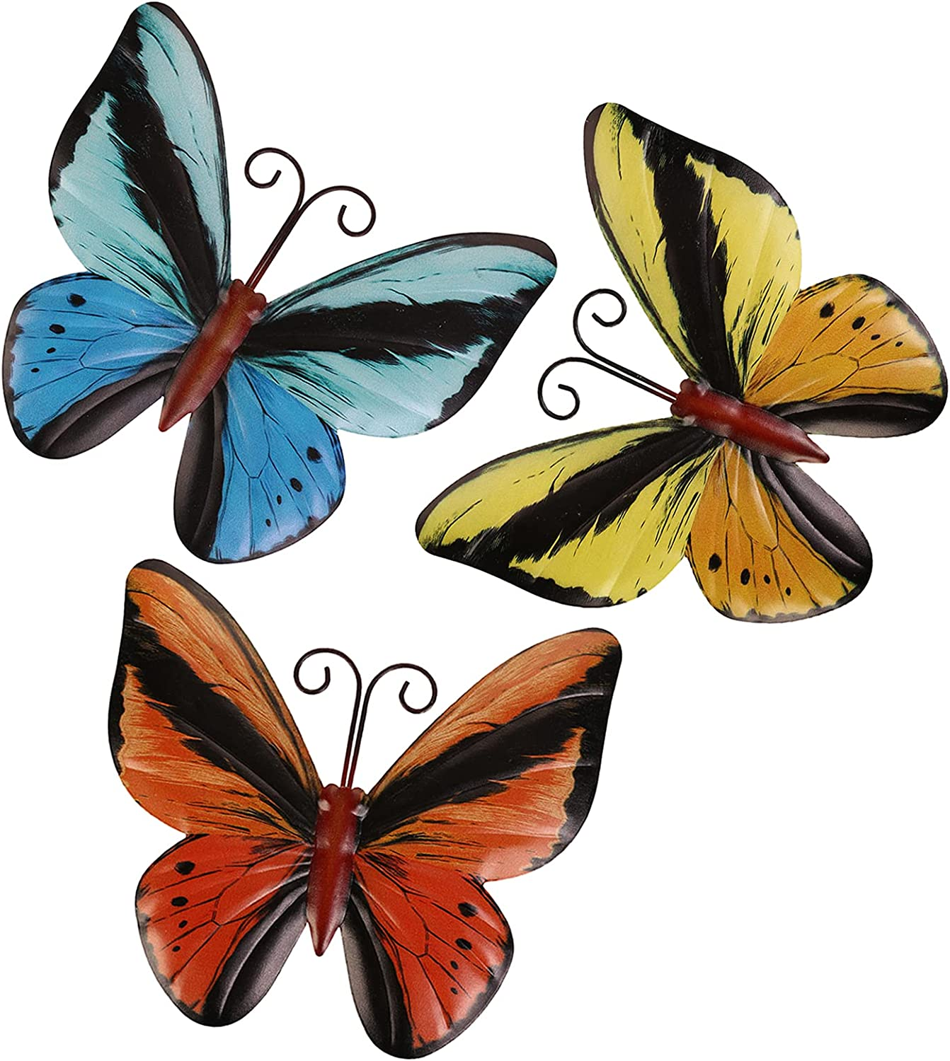 Scwhousi Metal Butterfly Wall Decor Outdoor Garden Fence Art,Hanging Decorations for Living Room, Bedroom, 3 Pack