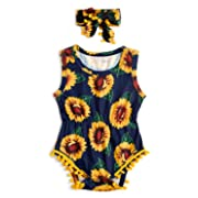 6-12 Months Toddler Flower Pattern Yellow Sleeveless Jumpsuit Lovely Baby Romper Series,Birthday Gifts