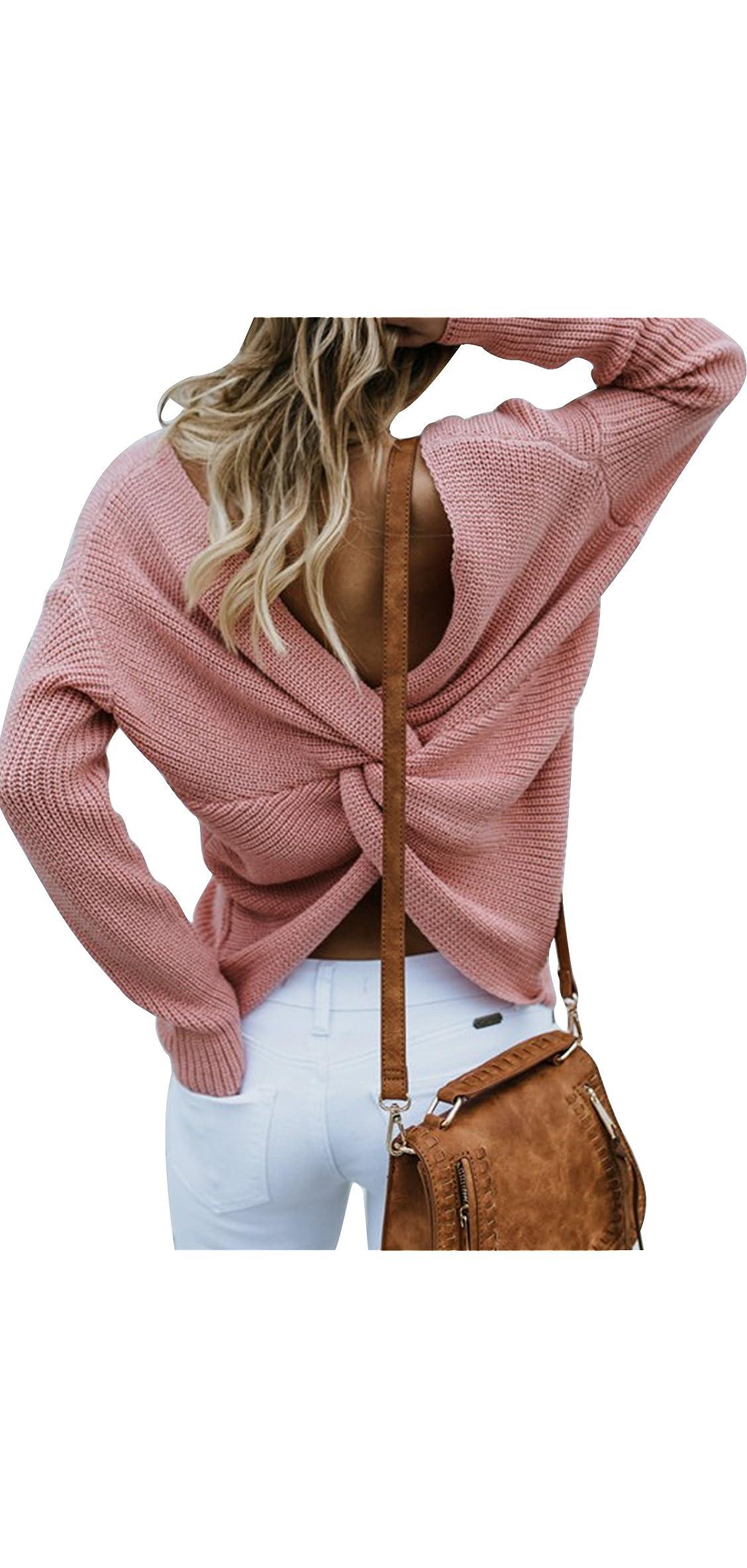 Women Casual Back Criss Cross V Neck Long Sleeve Loose