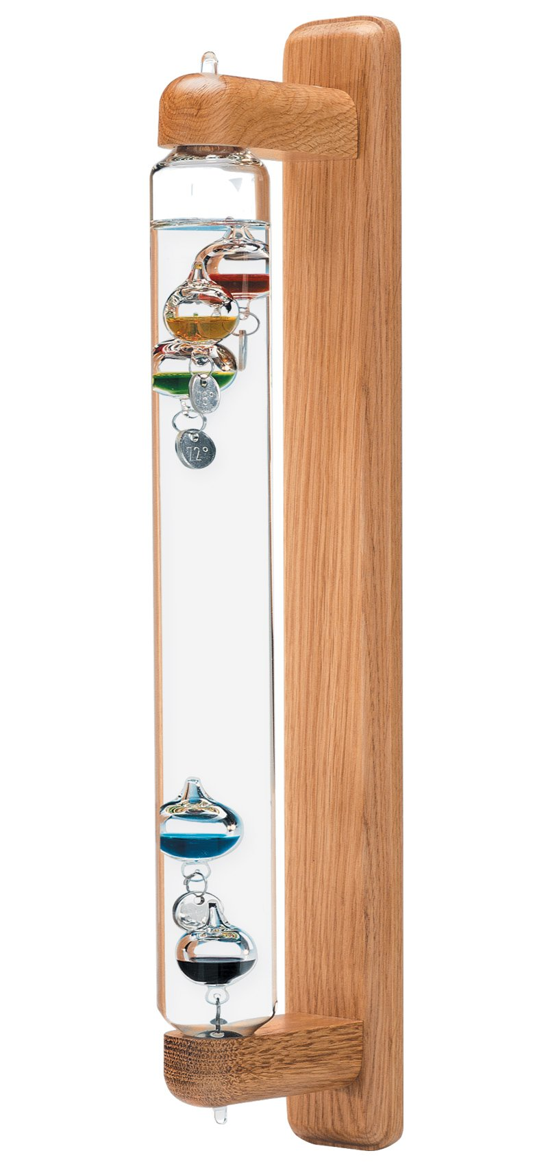 HOKCO Galileo Thermometer Wall Mount Hanging Oak 18 inch