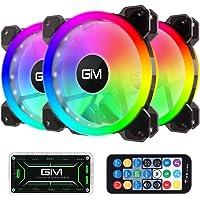 GIM Ventilador de Carcasa RGB de 120 mm, Paquete de 3, Kit 3 en 1 de ICETEK LED para PC con Ventilador RGB, 366 Modos…