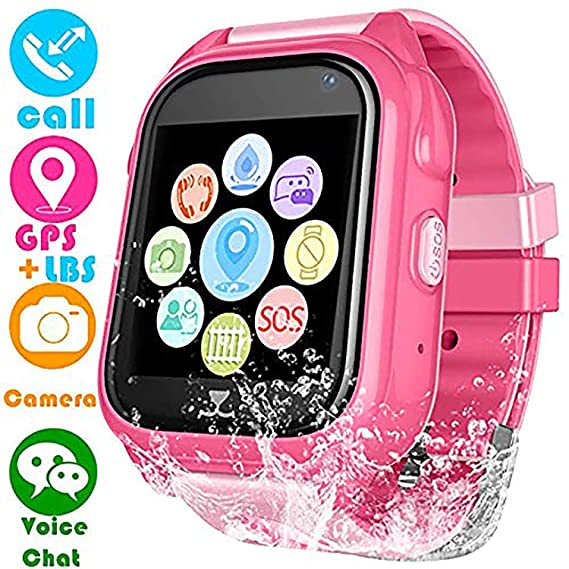 Kids Smart Watch for Girls Boys - IP67 Waterproof Children Smartwatch with GPS/LBS Position Tracker SOS Help Camera Anti-Lost Math Game Calling Phone ...