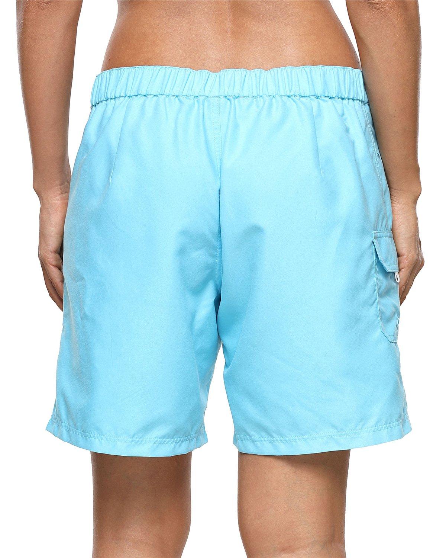ALove Women's Loose Fit Swim Shorts Quick Drying Boardshorts Swimsuits Bottom Blue Medium by ALove (Image #3)