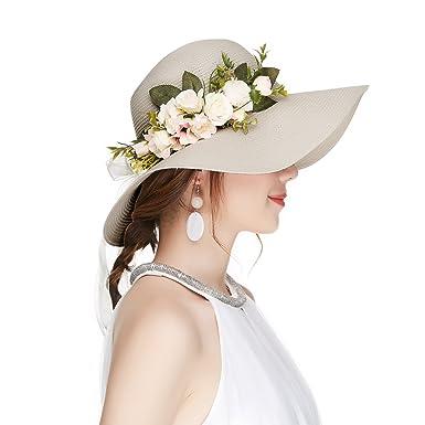 Kajeer Floppy Fascinator Tea Party Hats Flowers Straw Hat for Women Beige f160c3f9f49