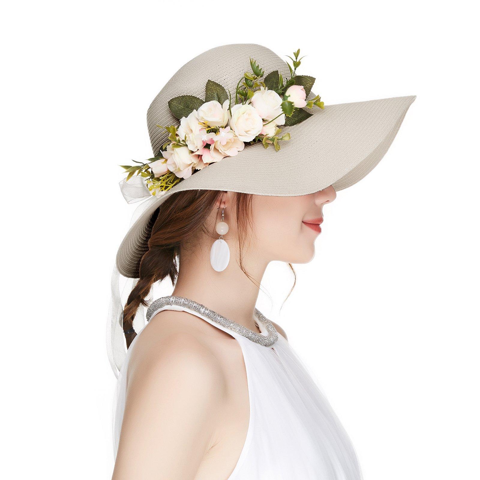 Kajeer Floppy Fascinator Tea Party Hats Flowers Straw Hat for Women