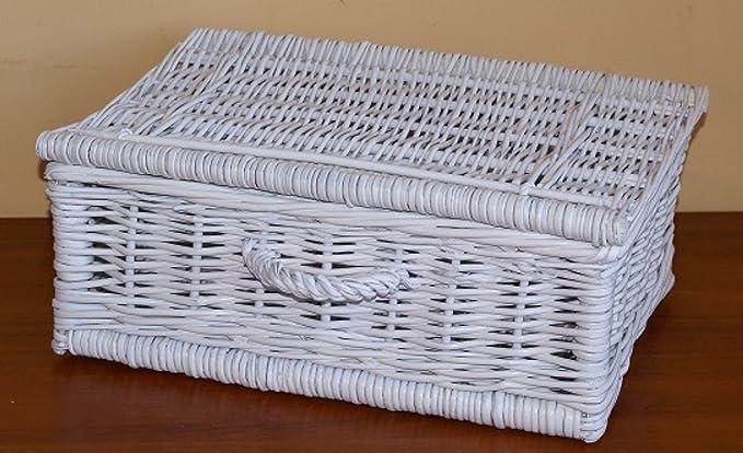 Coffre de en osier Saule Panier pique-nique variantes différentes au choix UPW073 - Koffer 40 cm, weiß gemalt