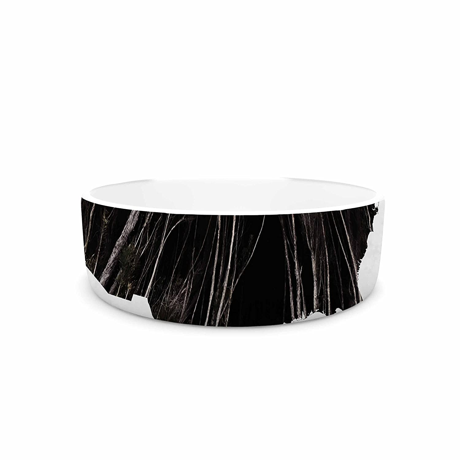KESS InHouse Chelsea Victoria Explore Black White Illustration Typography Pet Bowl, 7  Diameter