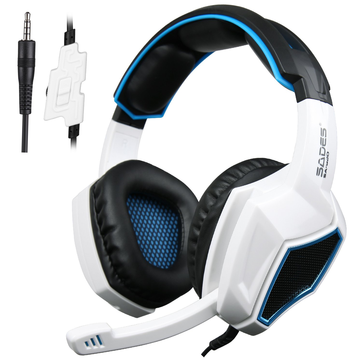 PS4 Gaming Headset, SADES SA920 3.5mm Wired Stereo Gaming Headphones with Microphone for PC iOS Computer Gamers Smart Phones Mobiles White Black