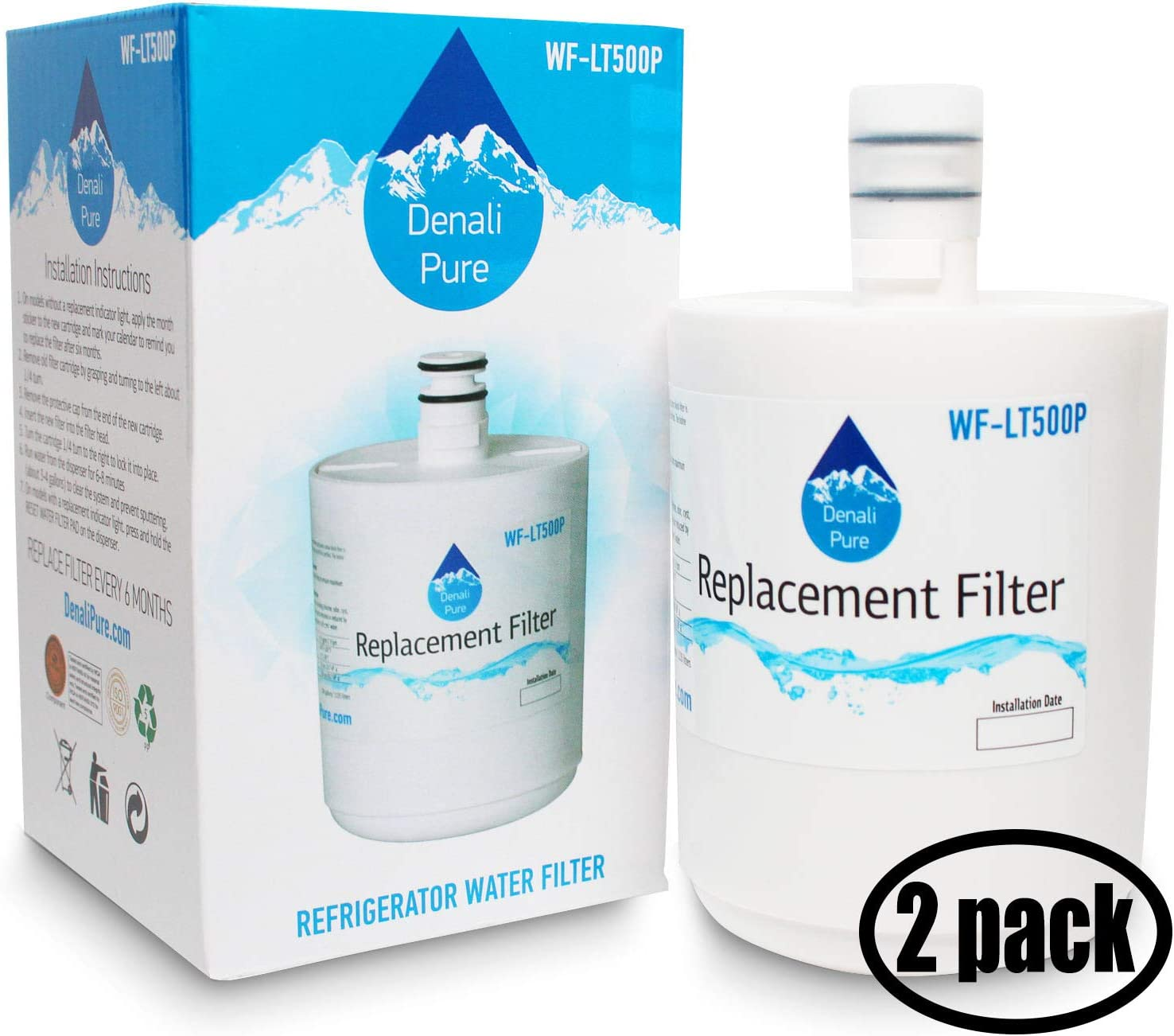 2-Pack Replacement for Sears/Kenmore 79551014011 Refrigerator Water Filter - Compatible with Sears/Kenmore ADQ72910902, GEN11042FR-08, 46-9890 Fridge Water Filter Cartridge