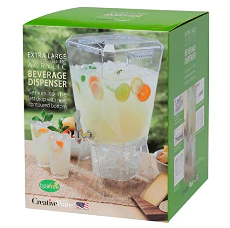 CreativeWare BEV17CLR Crown Beverage Dispenser with Base and Name Clip, 3 5  gallon, Clear