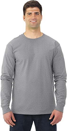 5 Pack FoTL 4930 Mens Heavy Cotton Long-Sleeve Tee Large Columbia Blue
