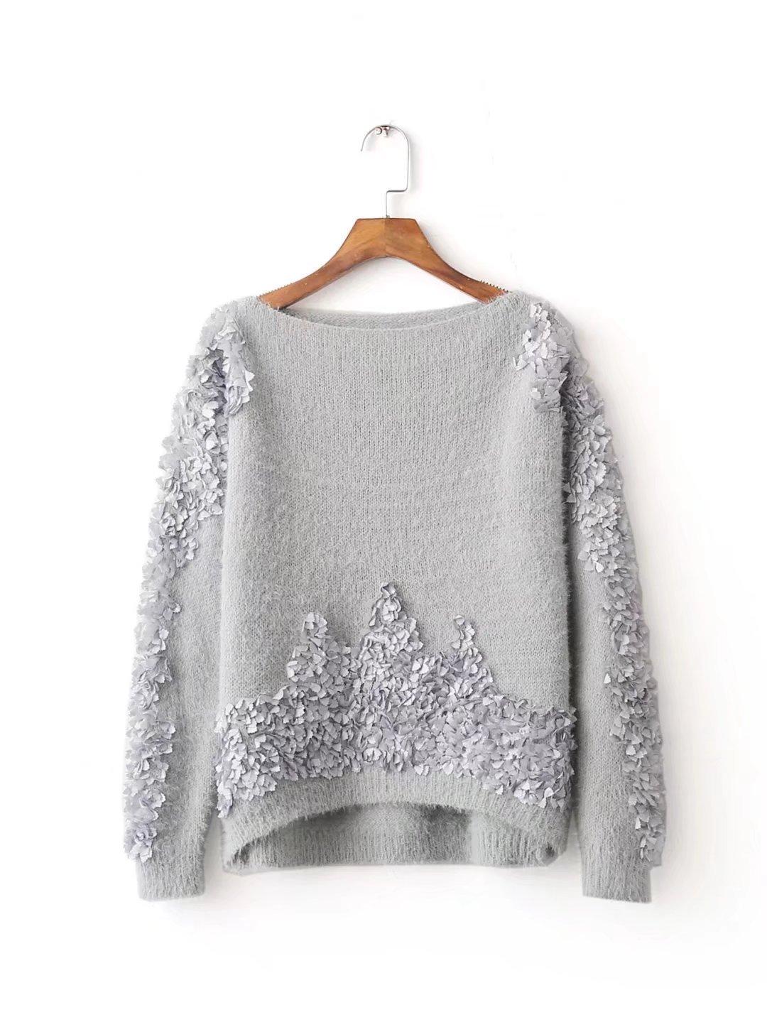SZYL-Sweater Pullover donna maglione collo donna manica lunga maglia Europa, bianco, taglia unica