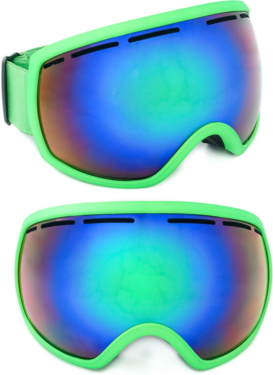 Skibrille verspiegelt Aspen 2018 unisex für Damen & Herren mit großem Sichtfeld / kratzfeste Gläser / inklusive Schutzbeutel und EVA Box / Etui / one size / Antifog / Doppelglas / inkl. Microfaserbag / Brillenträger / EVA Box / Hardcase / Brillenetui