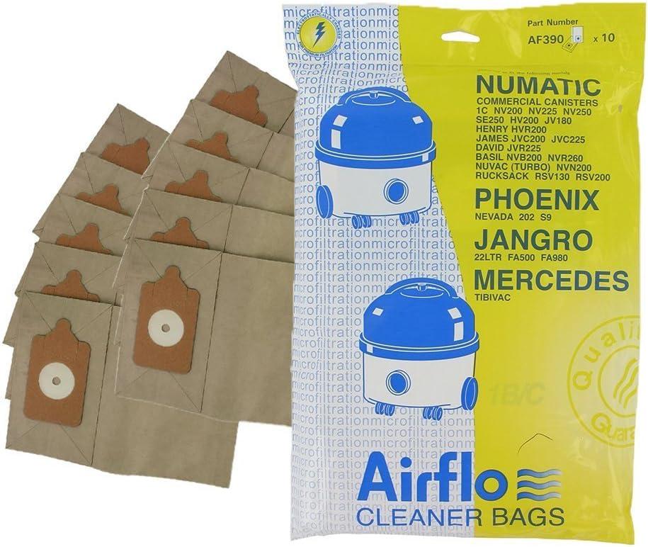 Airflo Europart AF390 - Bolsas de papel para aspiradoras Numatic 200 y Henry 1B/C (10 unidades): Amazon.es: Hogar