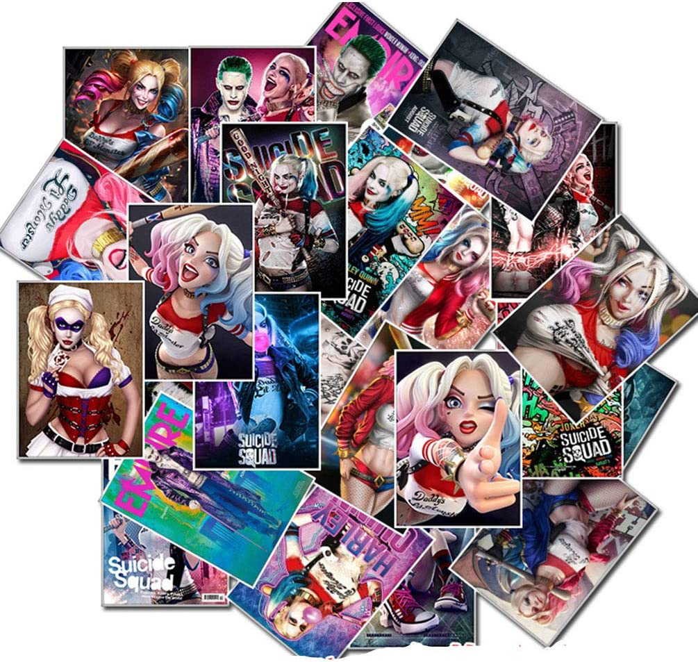 Laptop Stickers 25pcs Pack, Water Bottle Luggage Skateboard Sticker for Kids/Teen, Cool Vinyl Decal for Girl Travel Case Phone Notebook - Harley Quinn