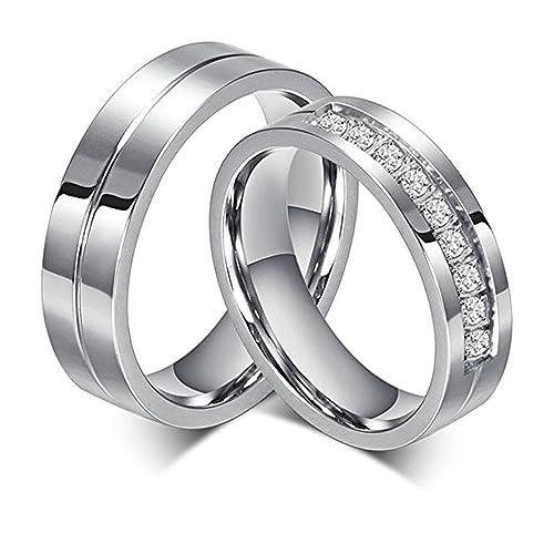 Bishilin Acero Inoxidable 6Mm Plata Anillos de Compromiso para Mujeres alianza de boda con diamantes Talla