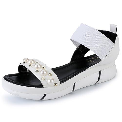c9a6fab2bcf94 Alexis Leroy Open Toe Elastic Strap Comfort Sole Flat Women's Sandals