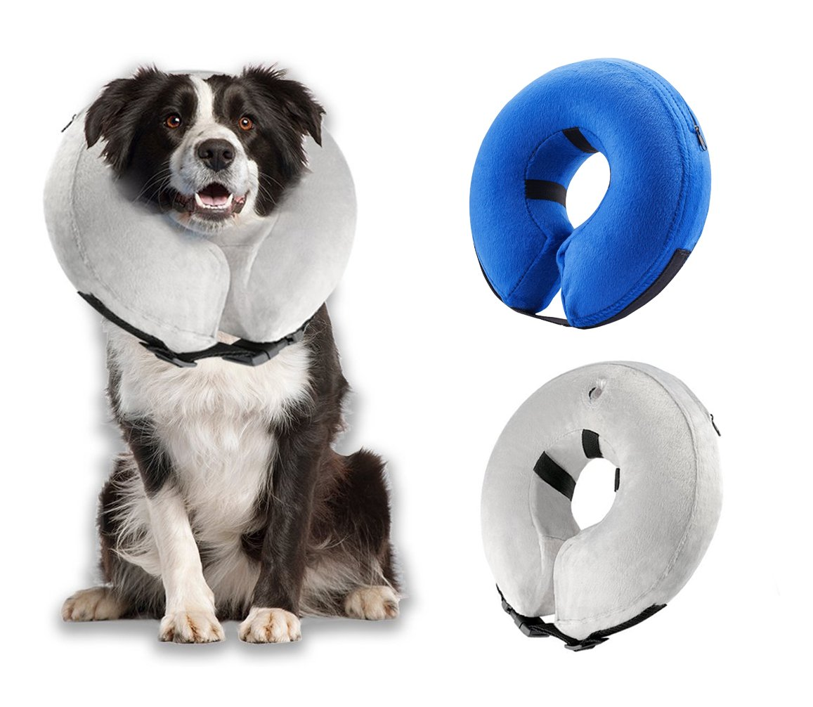 GabeFish Pet Inflatable Cones Wound Healing Protection Medical Warm Detachable Washable Recovery Collar For Dogs Cats Gray Large