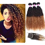 Allove Hair 8A Brazilian 3 Tone Ombre Color Kinky Curly Hair 3 Bundles with Closure(10 12 14+10) 4X4 Ombre Color Free Part Lace Closure with Virgin Remy Human Curly Hair Bundles Extensions