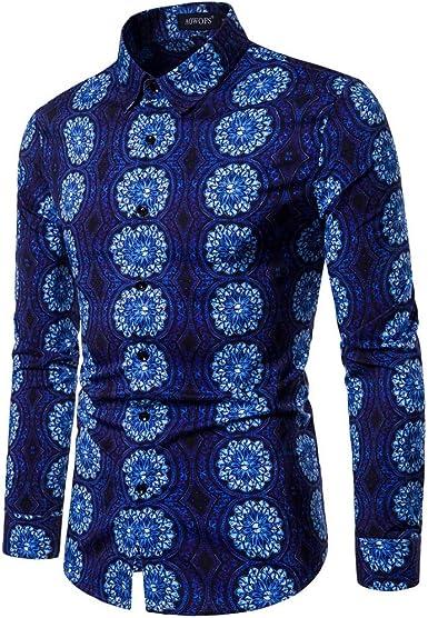 Camisa de flores para hombre, polo de manga larga, camisa clásica, camisa étnica para hombre, impresión tradicional Hippy Boho Colorblock Camisa para hombre Elegantes Slim Fit Casual Polo Floral turquesa S: Amazon.es: