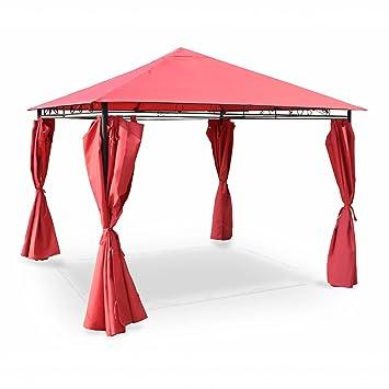Alices Garden - Pergola con toldo 3x3m - Rojo - TOLOSA