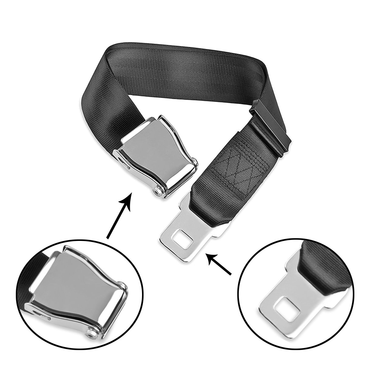 Ansblue Adjustable Airplane Seat Belt Extender Suitable for Most Airlines (Except Southwest Airlines) Protect Your Safety Bring You a Comfortable Trip- Black