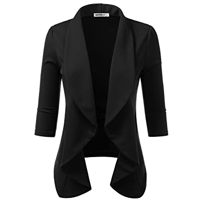 DOUBLJU Womens Lightweight Thin 3/4 Sleeve Open Front Blazer with Plus Size at Women's Clothing store