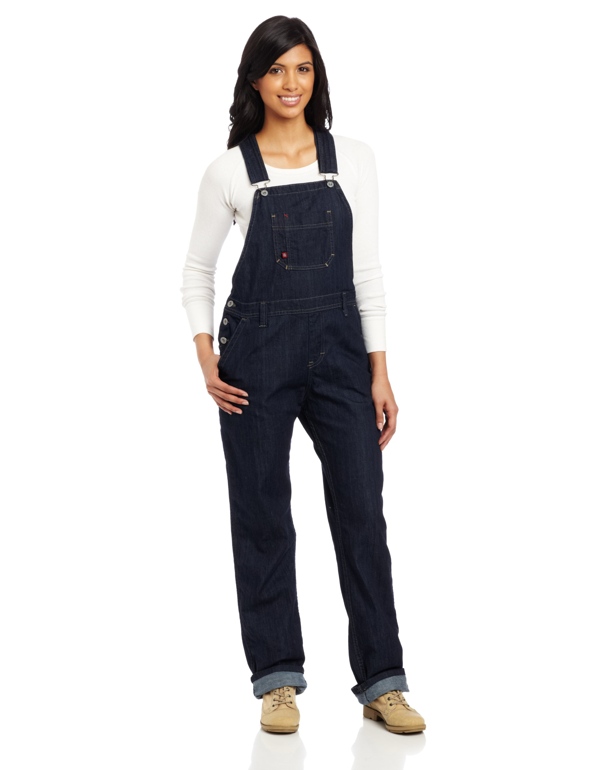 Dickies Women's Denim Bib Overall, Blue Denim, Medium