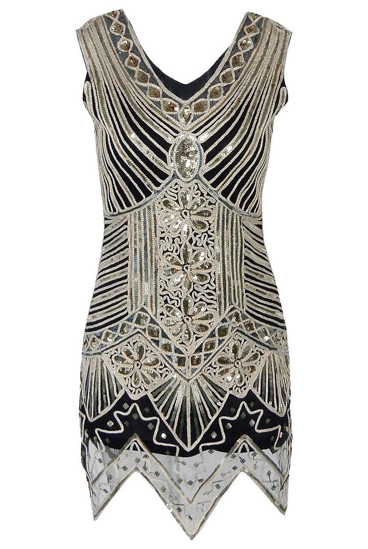 OOFIT Damen 1920er Gatsby Pailletten Kleider, V-Ausschnitt Perlen Franse  Flapper Charleston Kleid, Schwarz, Gr.S-XL(EU36-42) jetzt bestellen 00d57add33
