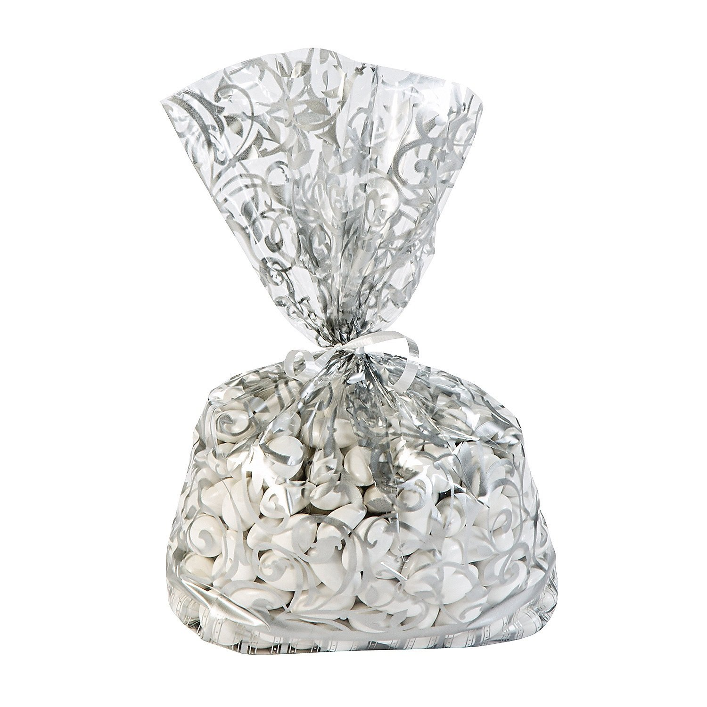 12 ~ Silver Swirl Cellophane Bags ~ 11.5