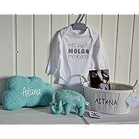 Canastilla bebé personalizada. Regalo original para un recién nacido, personalizado y hecho a mano. Incluye saco térmico…