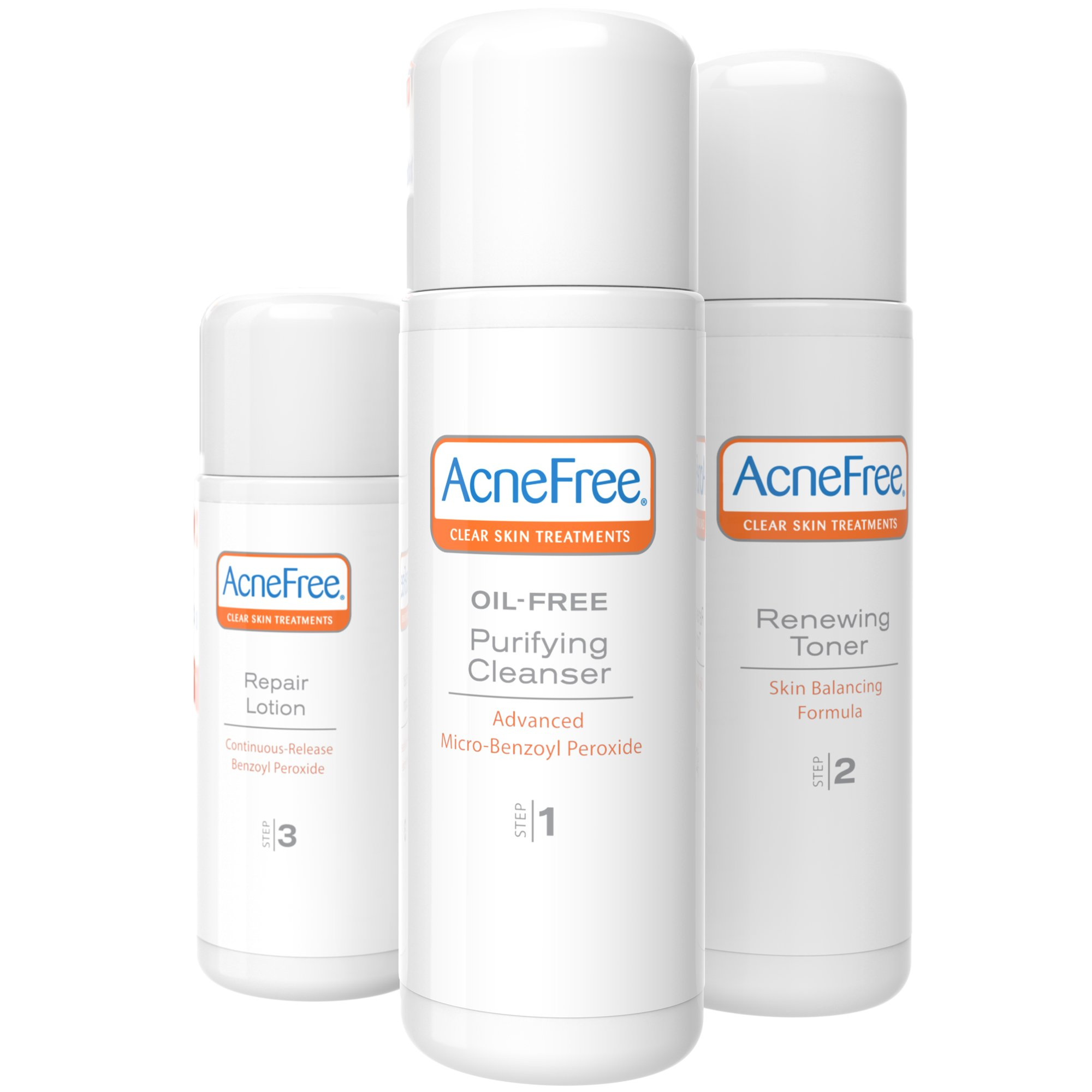 AcneFree 3 Step 24 Hour Acne Treatment Kit Clearing System w Oil Free Face Wash