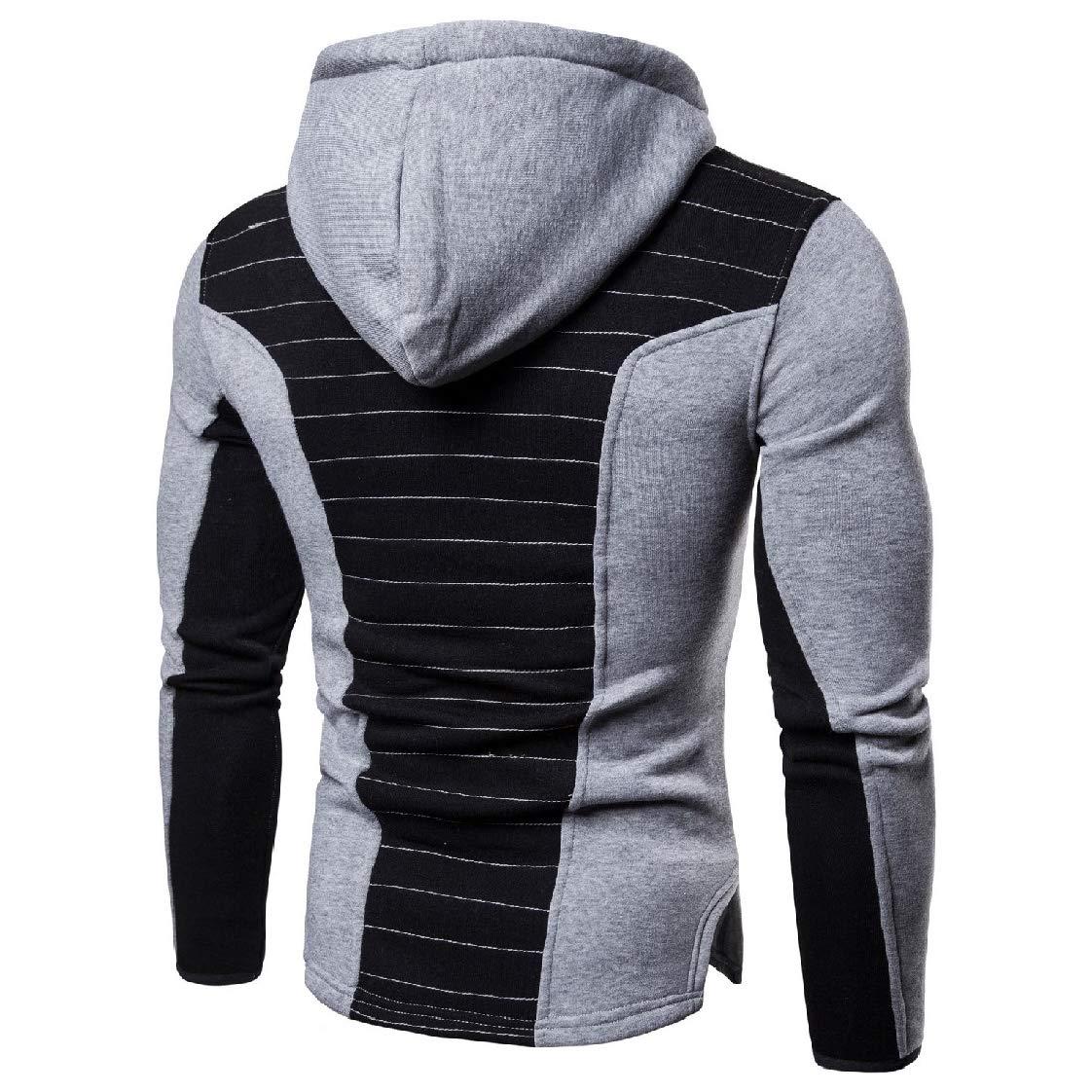 YUNY Men Color Block Full-Zip Sports Hooded Fitness Sweatshirts Outwear Light Grey S