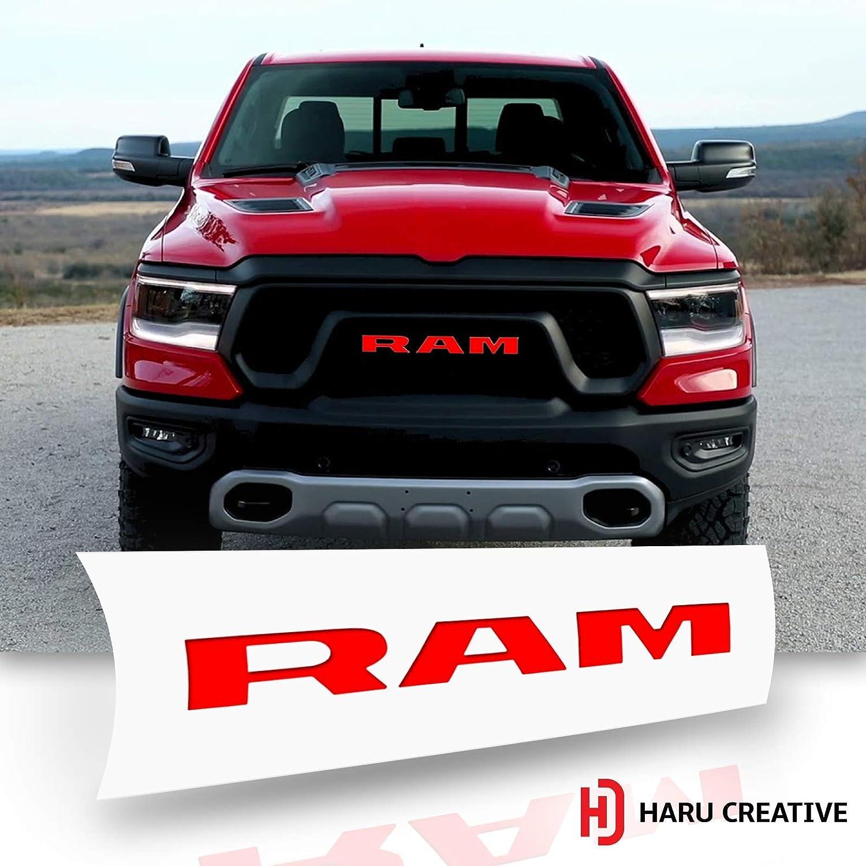 Front Hood Grille Emblem Logo Letter Overlay Vinyl Decal Sticker Compatible with and Fits Ram Rebel 1500 2019-4D Carbon Fiber White Haru Creative