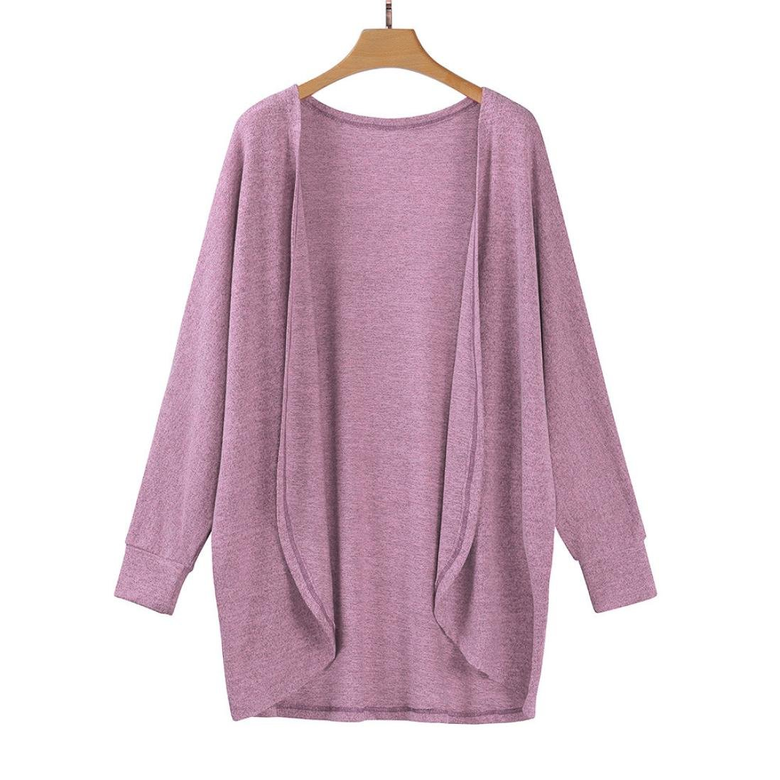 Hot Sale!Women's Cardigans Neartime Womens Kintted Cardigan Asymmetric Sweater Hem Long Sleeve Coat Tops (L, Pink) by NEARTIME (Image #2)