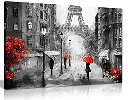 Black White Red Oil Painting Paris Eiffel Tower Street View Canvas Wall Art Picture Print