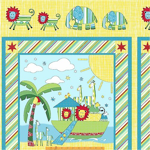 Two By Two Noah's Ark 100% Cotton Fabric Panel By Whistler Studio (Great for Baby Quilt, Quilting, Sewing, Craft Projects, Wall Hangings, Blanket, Throw Pillows and More) 23