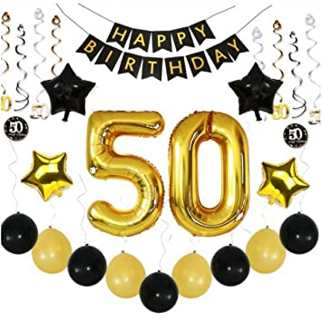 50th Birthday Party Balloons Decorations Giant 36 Piece Set Black Gold W