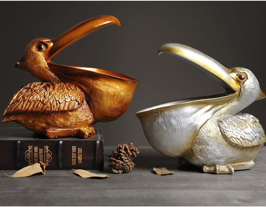 22x10x20cm FLAMEER 3D Resin Pelican Statue Birds Figurines Sundries Storage Organizer Holder Copper