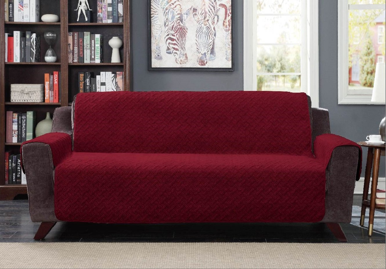 "American Home Reversible Sherpa Furniture Protector Cover with Removable Elastic Strap - Protection from Soils, Spills, Stains and Pets - Solid Sherpa (Sofa (112"" x 70""), Burgundy) by American Home"