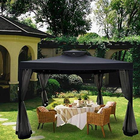 Aufun Pabellón 3x3m Carpa de Jardín de Poliéster con 4 Estantes de Metal 4 Lados Impermeable Carpa Fiesta con Cremallera, Antracita: Amazon.es: Jardín