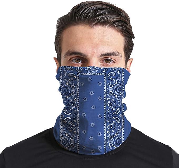 Triv Paisley Seamless Bandana Neck Gaiter Cloth Face Mask Washable Reusable Balaclava Face Cover (Blue) at Amazon Men's Clothing store